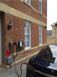 Tesla/Electric Vehicle Charging Station at Jail Hill Inn in Galena, Illinois