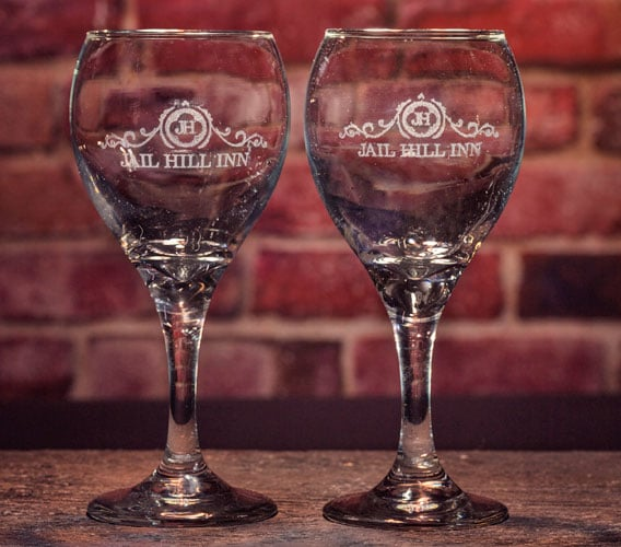 Jail Hill Etched Wine Glasses