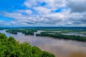 Beautiful view of the Mississippi River along the Great River Road Near Galena IL